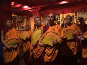 Photo by Alice Kandell Chanting and singing Buddhist monks help open the exhibition at the Carlos Museum.