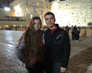 Walton High's Carlie Ladinsky and Milton High's Tyler Schwartz visit the Kotel in March as part of their Israel experience through Alexander Muss High School.