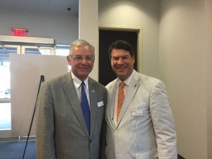 Alan Lubel poses with Sandy Springs Mayor Rusty Paul, who says an Israeli delegation is coming to his city in September to discuss business opportunities.