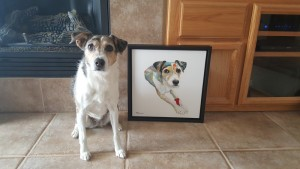 Photos courtesy of MyPoochFace - Lucy, a Jack Russell terrier, has pawtraits in the Hippy Puppy style.