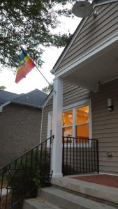 A Jewish Pride flag flies outside Congregation Bet Haverim on June 24.
