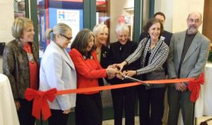 Kicking off the yearlong centennial celebration Nov. 1, 2015, (center from left) centennial chair Phyllis Cohen, Greater Atlanta Hadassah President Paula Zucker, then-National President Marcie Natan and exhibition chair Ruthanne Warnick cut the ribbon on Hadassah Atlanta's centennial exhibit at the Breman Museum. Joining the quartet in the middle are Southeastern Region President Toby Parker (left), Israeli Consul General Judith Varnai Shorer (scheduled to speak at the convention), Breman Executive Director Aaron Berger and exhibition display designer Dale Brubaker.