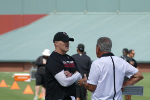 Head Coach Dan Quinn and Arthur Blank at Falcons training camp.