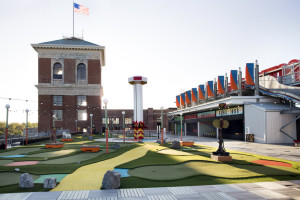 Miniature golf is featured at Skyline Park at The Roof at Ponce City Market.