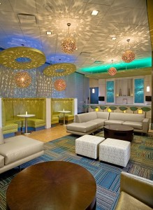 Wisteria Lanes offers a contemporary lounge area and bar.