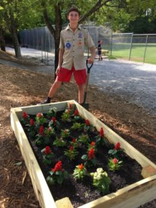 For his Eagle Scout project, Ethan Hartz built and installed raised garden beds at the fields of Dunwoody Senior Baseball.