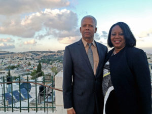 Rep. Hank Johnson and his wife, Mereda, overlook Jerusalem in May.