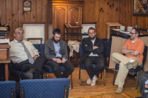 Photo by Eli Gray (From left) Rabbis Don Seeman, Yale New and Naftali Estreicher join Yacov Freedman for a discussion of Orthodox unity at New Toco Shul.