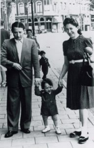 Emanuel and Helen Herman walk through Amsterdam with their son. (Photo courtesy of the Emanuel Herman Family Papers in the Cuba Family Archives for Southern Jewish History, Breman Museum)