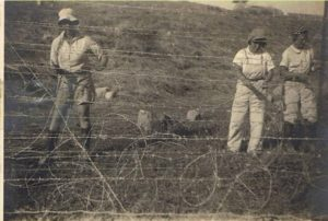 Members of Kibbutz Kfar Ruppin build a protective fence around their community in 1938.