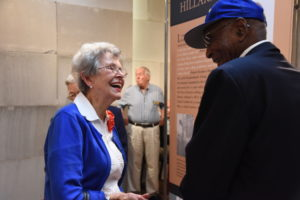 Jane Tucker, who founded the Rome chapter of the American Rosie the Riveter Association in 2010, talks with Tuskegee Airman Hillard Pouncy. (Photo courtesy of the Museum of History and Holocaust Education)