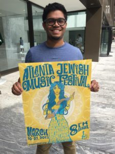 Andy Glen, a graduate student at Georgia State University, created the winning design for the poster for the eighth Atlanta Jewish Music Festival spring fest.