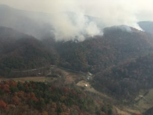 A photo of the Rock Mountain wildfire taken by air operations above Tate City in Rabun County on Nov. 17, 2016. Tate City is just a few miles northeast of Camp Ramah Darom.
