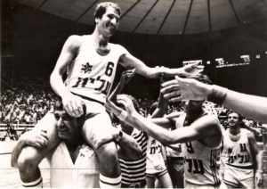 "Tal Brody is carried off the court after Maccabi Tel Aviv's upset over Soviet powerhouse CSKA Moscow in the 1977 European semifinals, the ""Miracle on Hardwood"" recounted in ""On the Map,"" showing Jan. 28 and Feb. 3, 4 and 7."