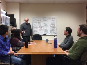 CIE President Ken Stein fills a whiteboard with discussion topics and terminology comparing the time of Israel's War of Independence, the Six-Day War and today.