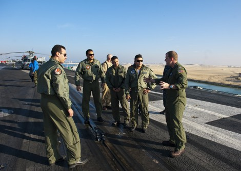 Egyptian Air Force pilots tour the USS Enterprise (photo credit: CC BY Official U.S. Navy Imagery, Flickr)