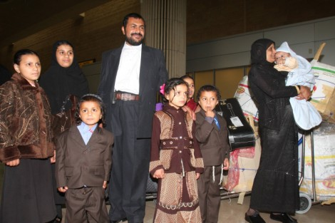 New immigrants from Yemen at Ben-Gurion Airport (photo credit: Roni Schutzer/Flash90)