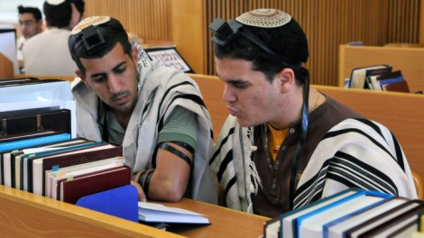 Students pore over their books in a Hesder yeshiva's Beit Midrash (photo credit: Yossi Zeliger/Flash90)