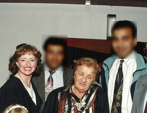 Ulpan Akiva founder Shulamit Katznelson (center) with the author's wife and two Gaza professionals whose faces have been blurred to protect their identity (photo courtesy)