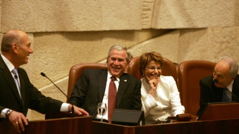 George W. Bush didn't visit Israel as president until May 2008, over seven years into office. (photo credit: Kobi Gideon/Flash90)