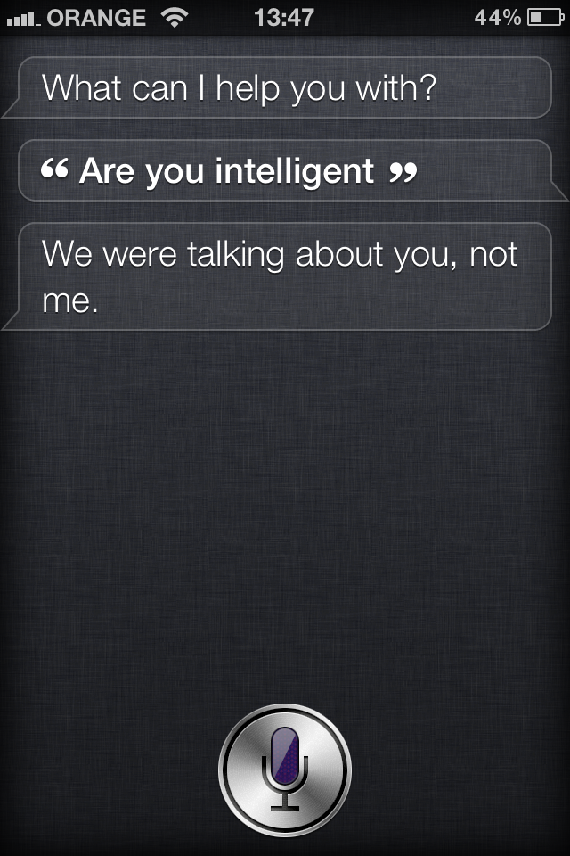 Not quite there yet. A screen capture of Apple's Siri software