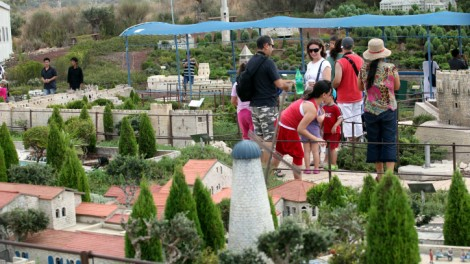 Israelis visit the Jerusalem area in the Mini Israel amusement park in Latrun.  Mini Israel is a miniature park containing miniature replicas of hundreds of buildings and landmarks in Israel. (photo credit: Yossi Zamir/Flash 90)