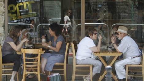 A cafe on Emek Refaim Street (photo credit: Miriam Alster/Flash90)