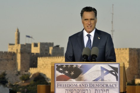 Mitt Romney addresses the Israeli media in front of the Old City walls in Jerusalem (photo credit: Ari Dudkevitch/Flash90)