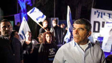 Former IDF chief of staff Gabi Ashkenazi at the 'Suckers Tent' in Jerusalem (photo credit: Noam Moskowitz/Flash90)