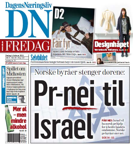 An headline on the front page of the Dagens Nringsliv newspaper in Norway reads 'no PR for Israel.'