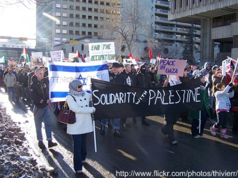 An unholy alliance of radical elements. Muslims march with white supremacists in an anti-Israel protest in Calgary, Canada (photo credit: CC BY-SA thivierr, Flickr)