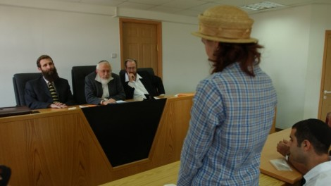 A panel of Orthodox rabbis perform a conversion at the Jerusalem Rabbinical Court (photo credit: Flash90)