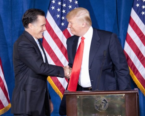 Republican presidential candidate Mitt Romney with billionaire Donald Trump in Las Vegas (photo credit: Shutterstock)