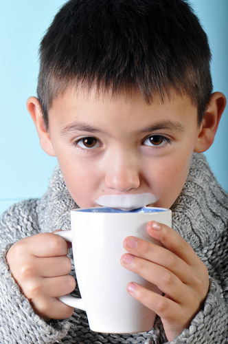 'Aha! We're onto you, kid. That Hitler milk mustache is a dead giveaway.'