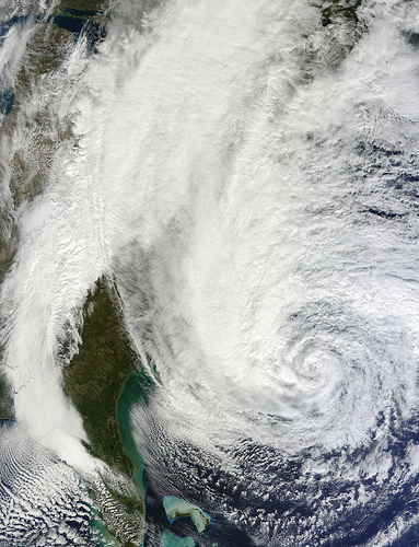 Hurricane Sandy off the Carolina coast on Sunday (photo credit: CC BY NASA)