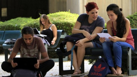 Students at Ben Gurion University in Beersheba (photo credit: Tsafrir Abayov/Flash90)