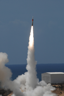 Israel's Arrow missile defense system in action (photo credit: IAI via Tsahi Ben-Ami/Flash90)