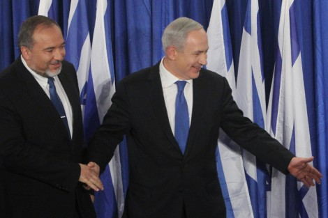 Prime Minister Benjamin Netanyahu and Foreign Minister Avigdor Liberman at a press last week announcing the merger of their respective parties, Likud and Yisrael Beytenu (photo credit: Miriam Alster/Flash90)