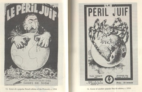 The front and back cover of a French edition of the 'Protocols of the Elders of Zion'