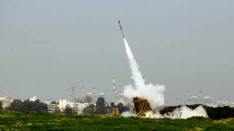 Iron Dome near Ashdod intercepting rockets from the Gaza Strip