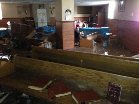 The flooded beit midrash of the Brighton Beach Synagogue (photo credit: courtesy)