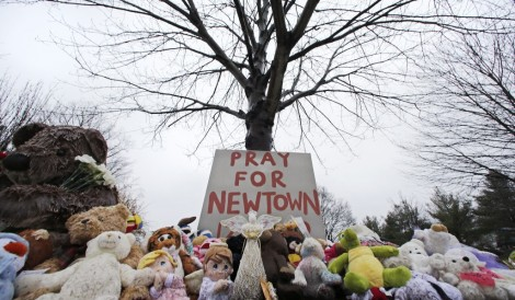 Near Newtown VIllage Cemetery in Newtown, Conn. (photo credit: AP / Charles Krupa)