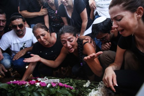 Mourning a victim of a terror attack on Israelis in Bulgaria, July 2012 (photo by Avishag Shaar-Yashuv/Flash90)