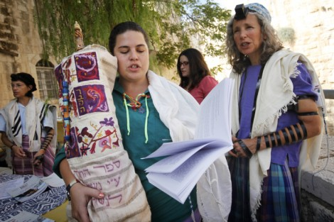 Bonna Devora Haberman (right) with Women of the Wall outside the police station in October (Photo credit: Miriam Alster/Flash90)