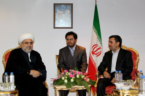 The author (center) with President Ahmadinejad and Azerbaijani official, October 2011 (photo: Iranian President's website)