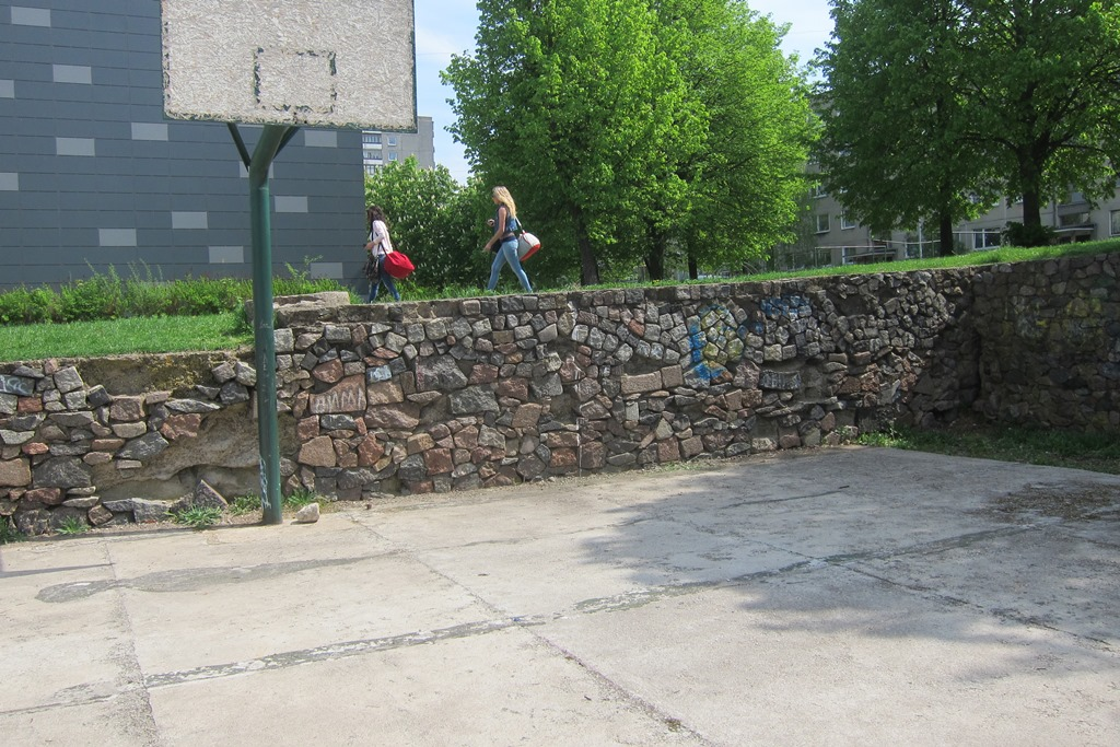 "Section of the basketball court with ""select stones"" removed. (photo: DefendingHistory.com)"