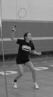 Suzanne Greene playing badminton. (Photo credit: courtesy)