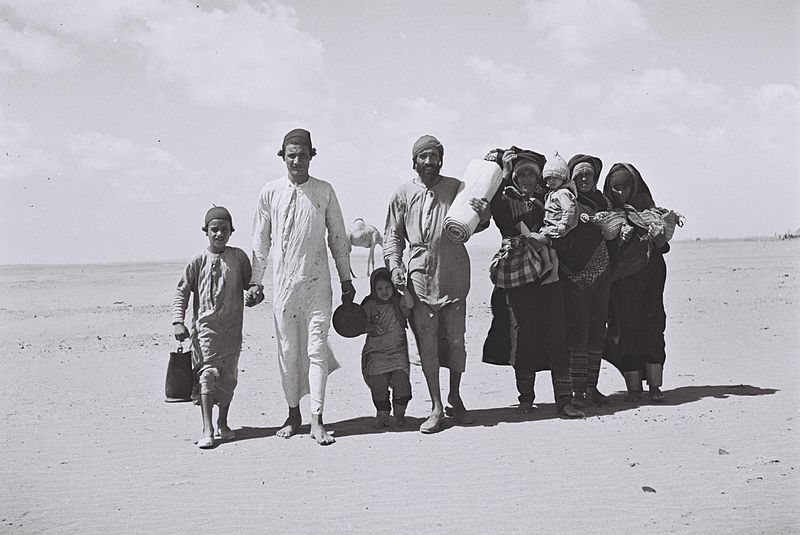 A Yemenite family walking through the desert to a reception camp (photo: Wikimedia Commons)