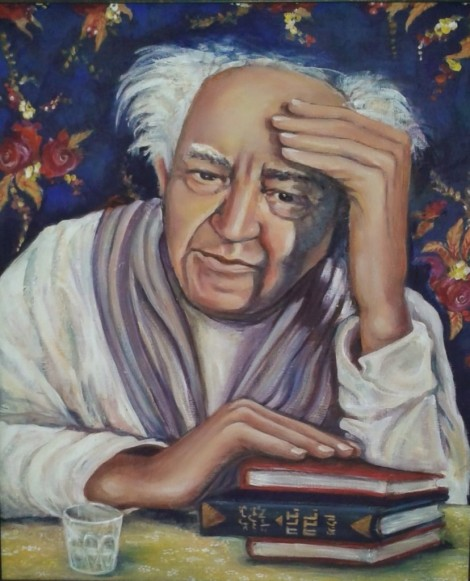"""Baba Gurion,""  2009-10, mixed media on panel,  80 X 70 cm by Neta Elkayam, photo by Susan Nashman Fraiman"