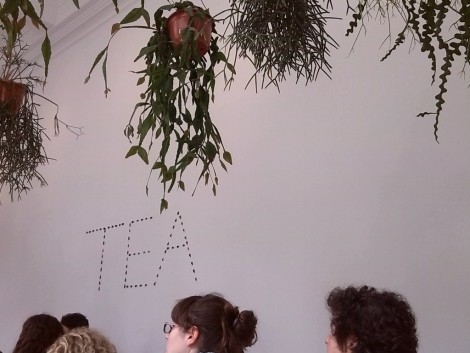 "Tea sign from ""English Magic"" 2013 by Jeremy Deller, mixed media. Photo by Ahuva Passow-Whitman"